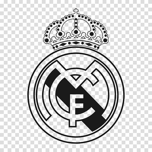 Black and white logo, Real Madrid C.F. El Clxe1sico La Liga.