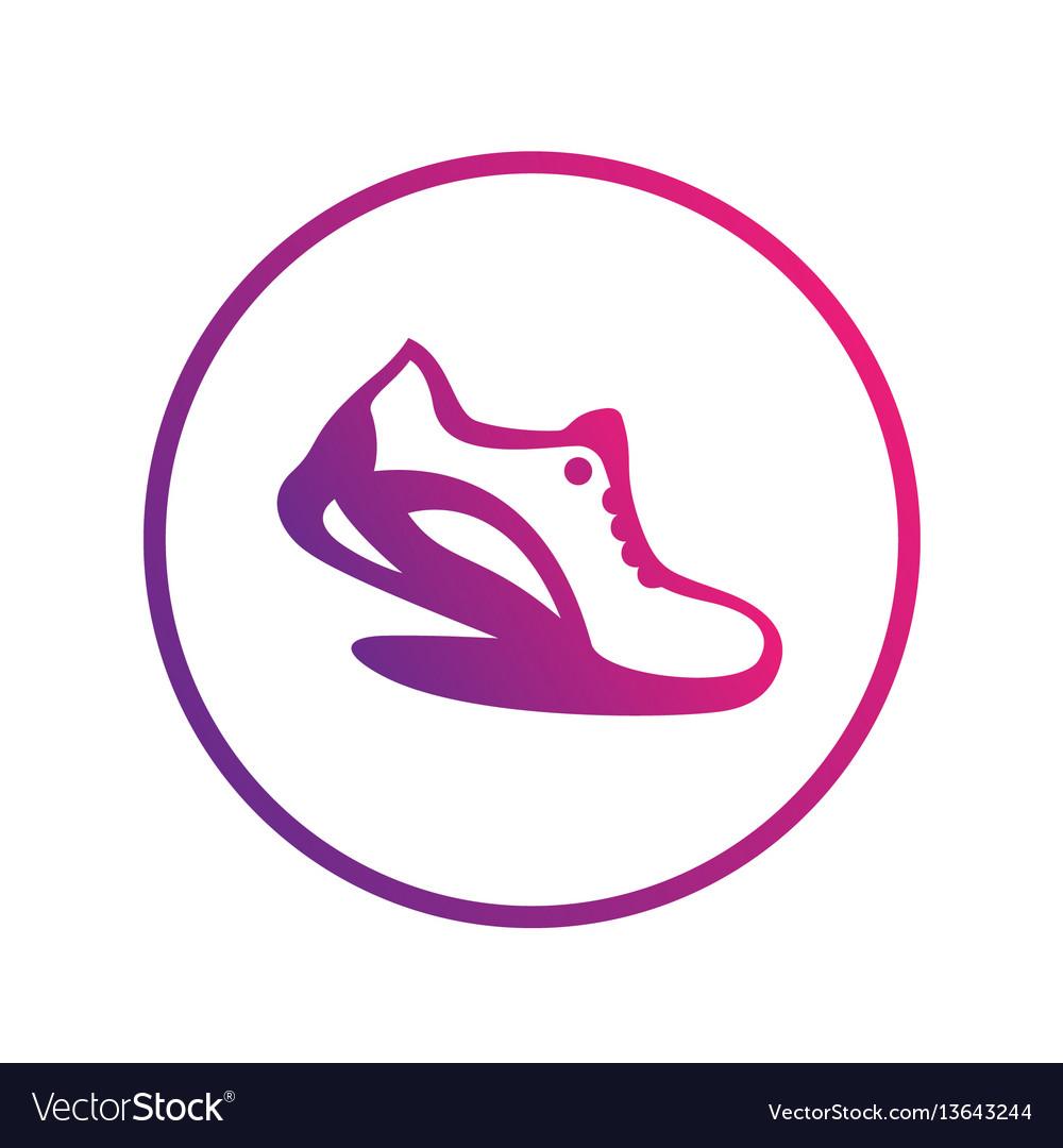 Running icon logo element running shoe in circle.