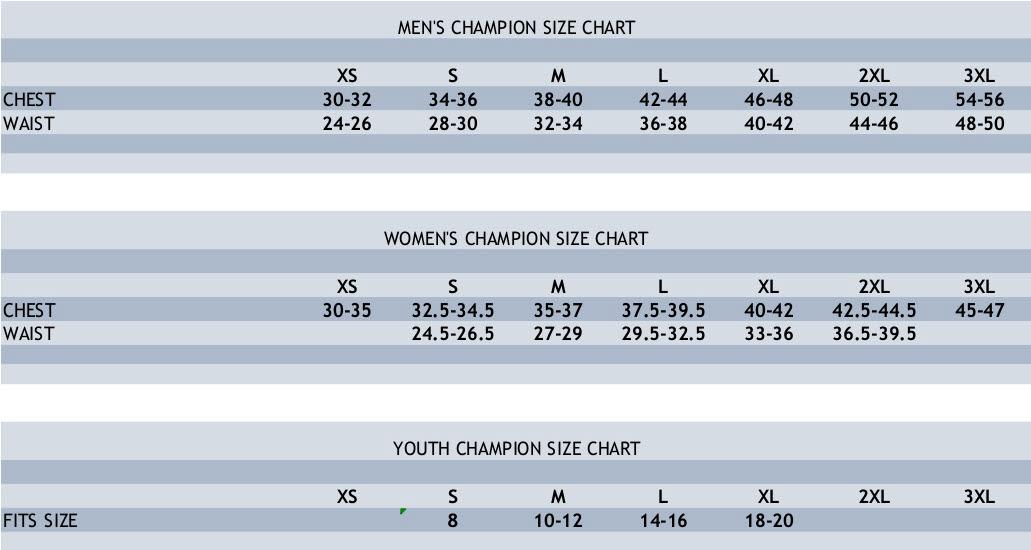 Champion Size Chart.