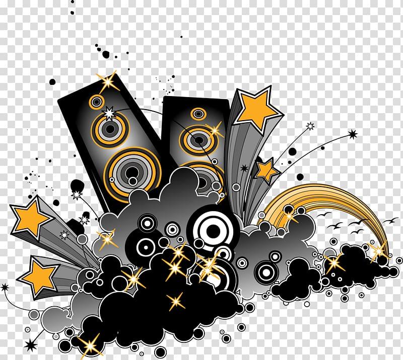 Speakers and stars illustrationb, Loudspeaker Computer file.