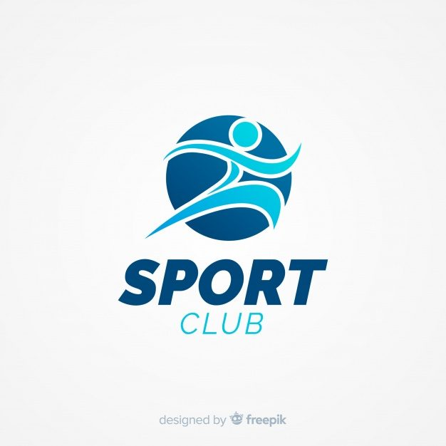 Modern sports logo template with flat design Free Vector.