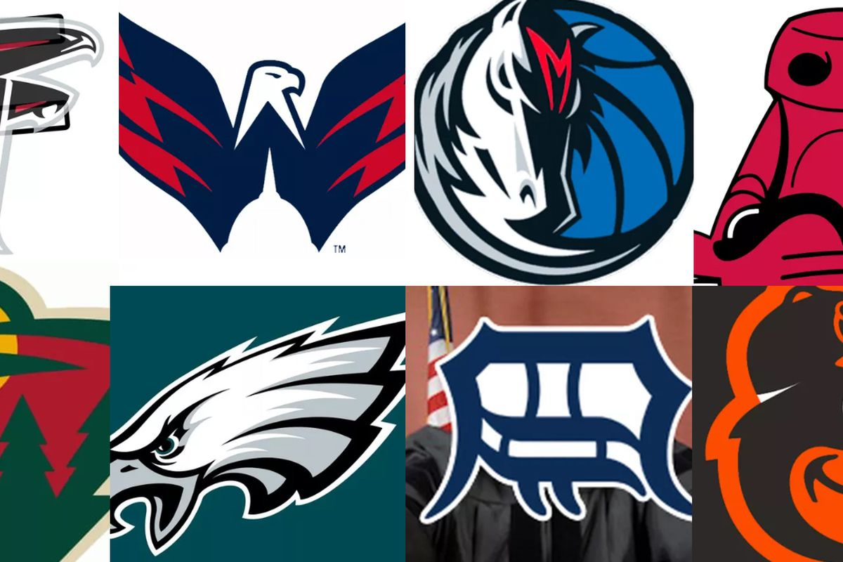 12 hidden images in sports logos.