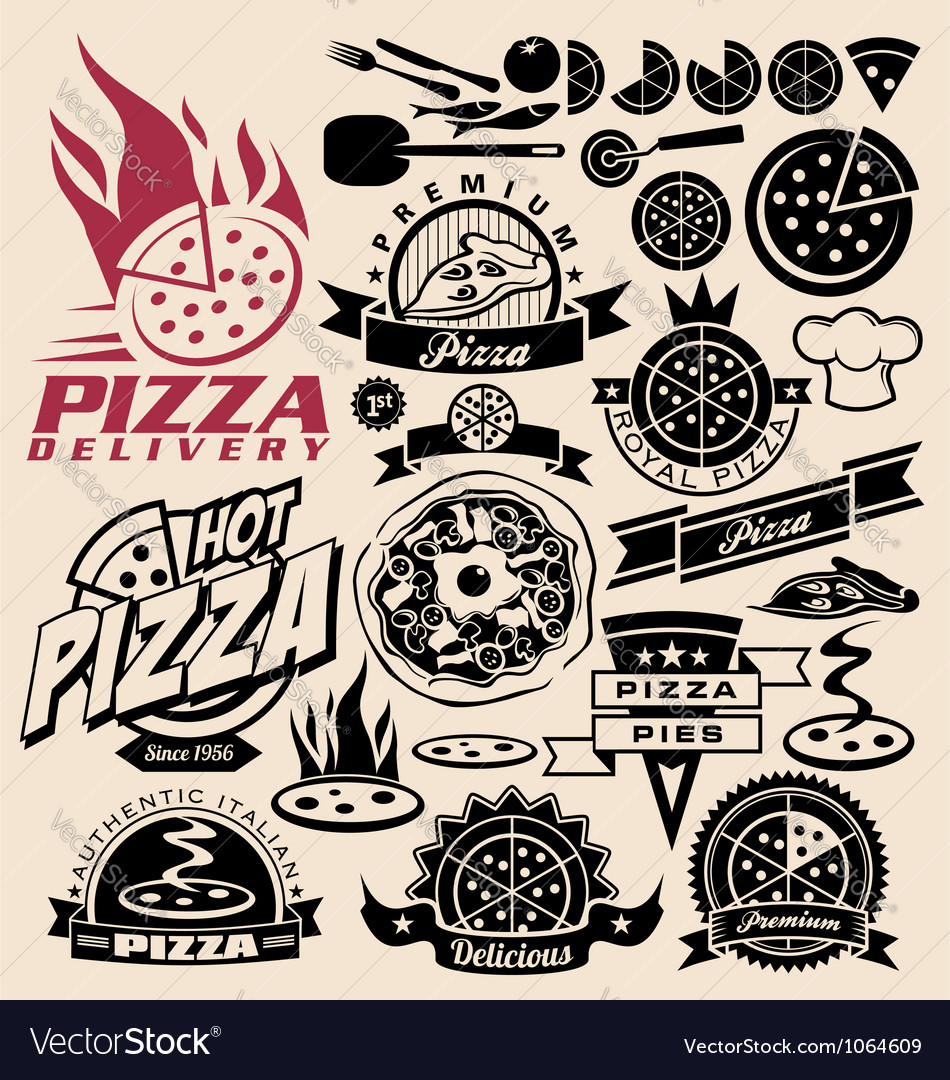 Pizza labels stamps logos and icons.