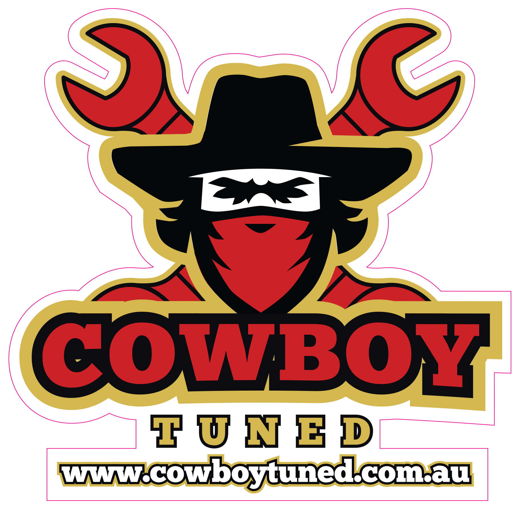 Cowboy Tuned Logo Sticker.