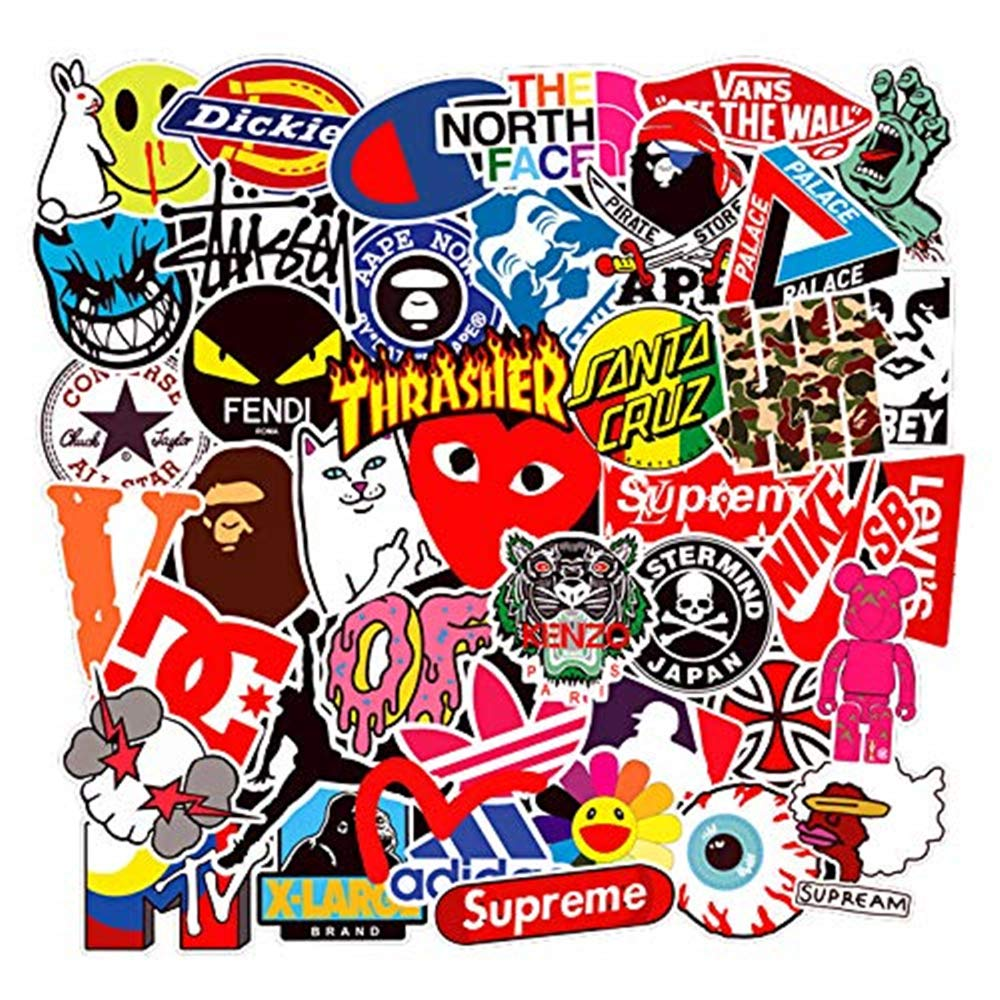 100pcs/pack Mixed Brand Logo Stickers.