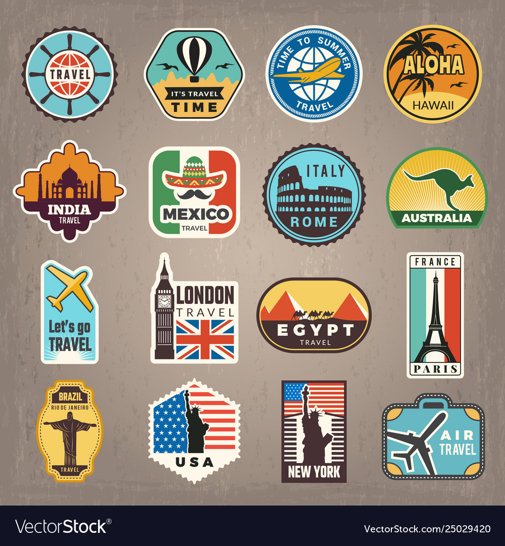 Travel stickers vacation badges or logos for.