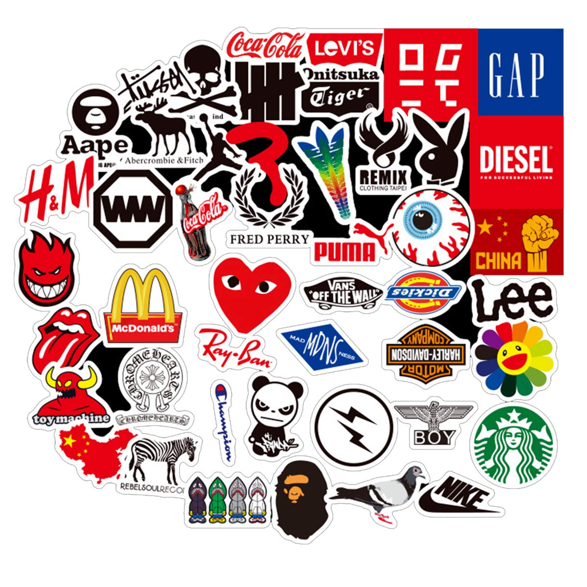 Mini Small Brand Logo Stickers Laptop Stickers Fashion Computer Vinyl  Sticker Waterproof Bike Skateboard Luggage Decal Graffiti Patches Decal 58  PCS.