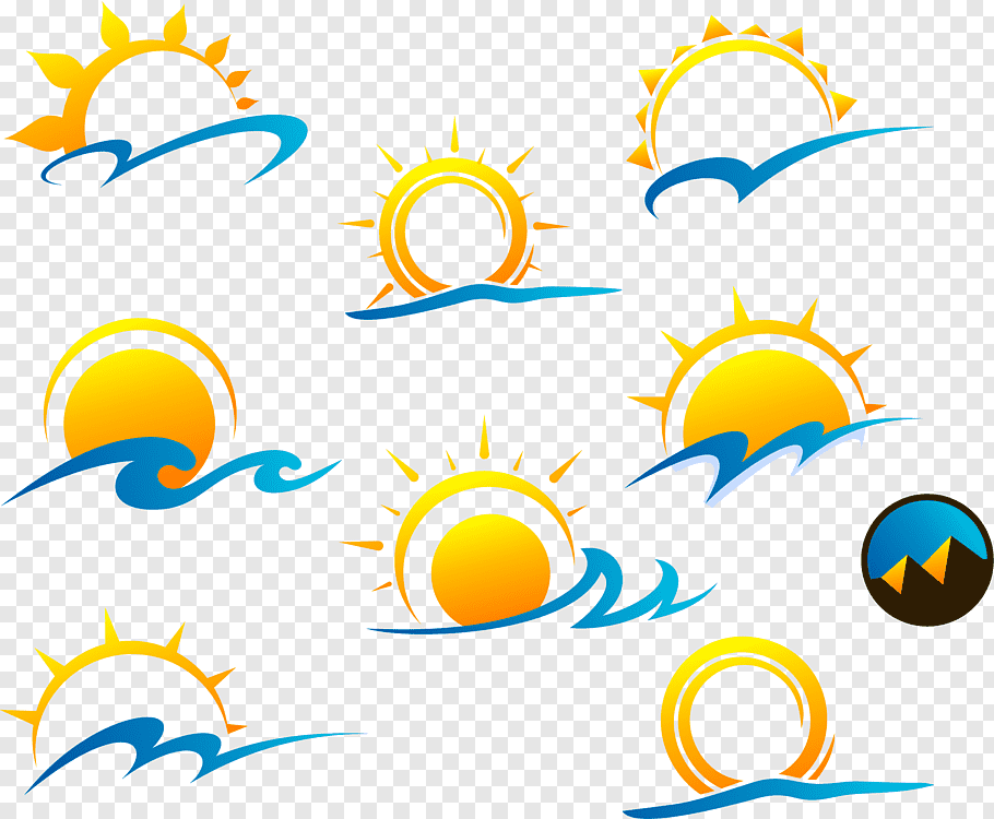 Sun and waves illustrations, Euclidean Logo, sun free png.