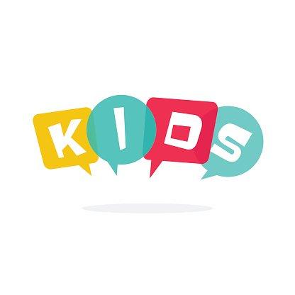 Kids vector logo children education school logotype Clipart.