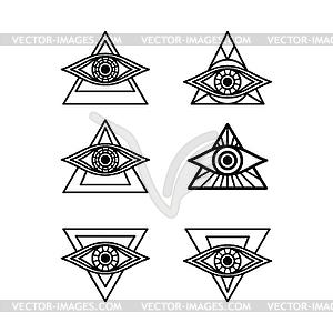 One eye sign symbol logo logotype collection.