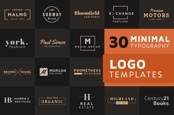 30 Minimal Typography Logo Templates.