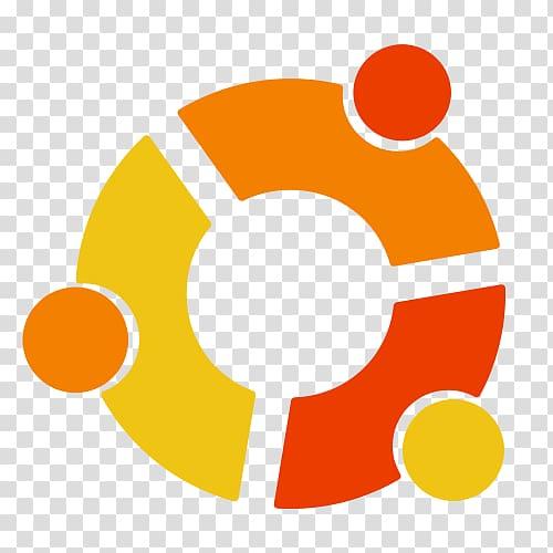 Round yellow, orange, and red logo, Ubuntu Linux Logo.