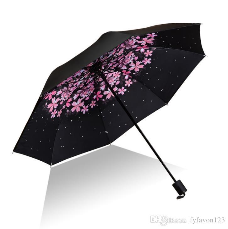 2019 2018 Creative Female Sun Umbrella Small Black Umbrellas Customized  Logo Three Folding Sun Umbrella Folding Umbrella A228 From Fyfavon123,  $11.45.
