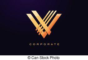 Letter v logo. v letter design vector with golden colors and.