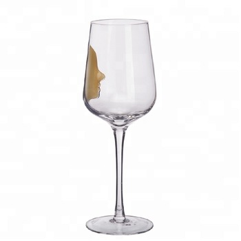 Handblown Customized Logo Plain Wine Glass With Orange Color Human Face.  495ml.