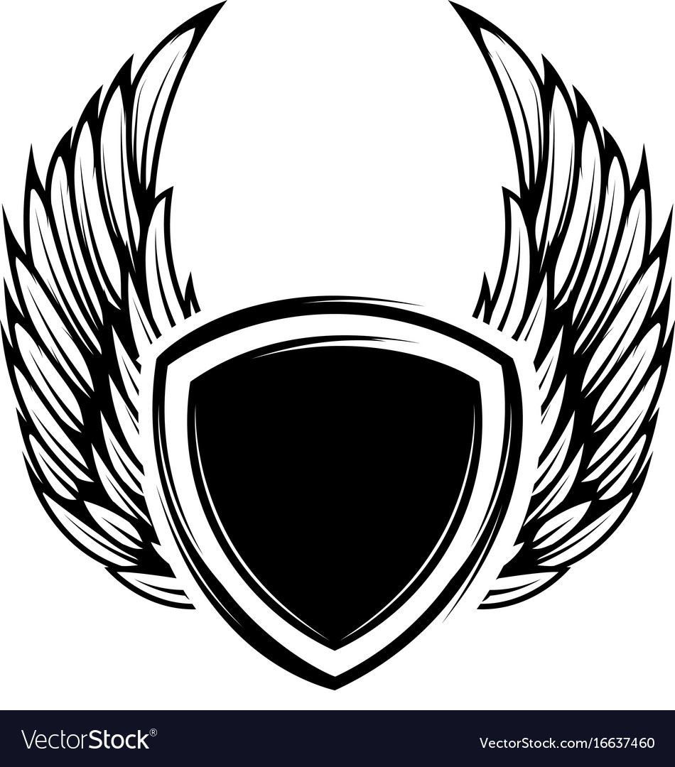 Blank emblem with wings isolated on white.