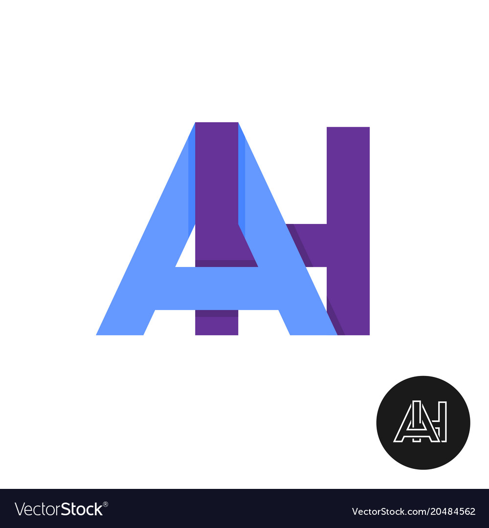 Letters a and h ligature logo two letters ah sign.