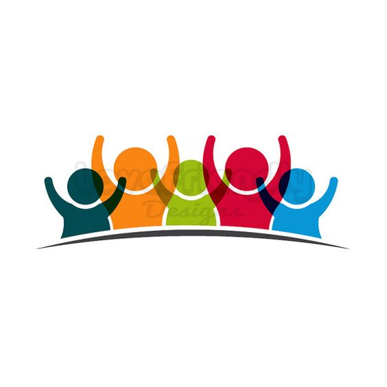 Team five people logo clipart. Concept of group of people meeting.