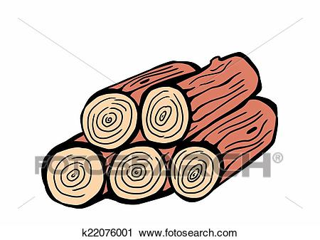 Hand drawn wood logs Clip Art.