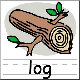 Clip Art: Basic Words: Log Color Labeled I abcteach.com.
