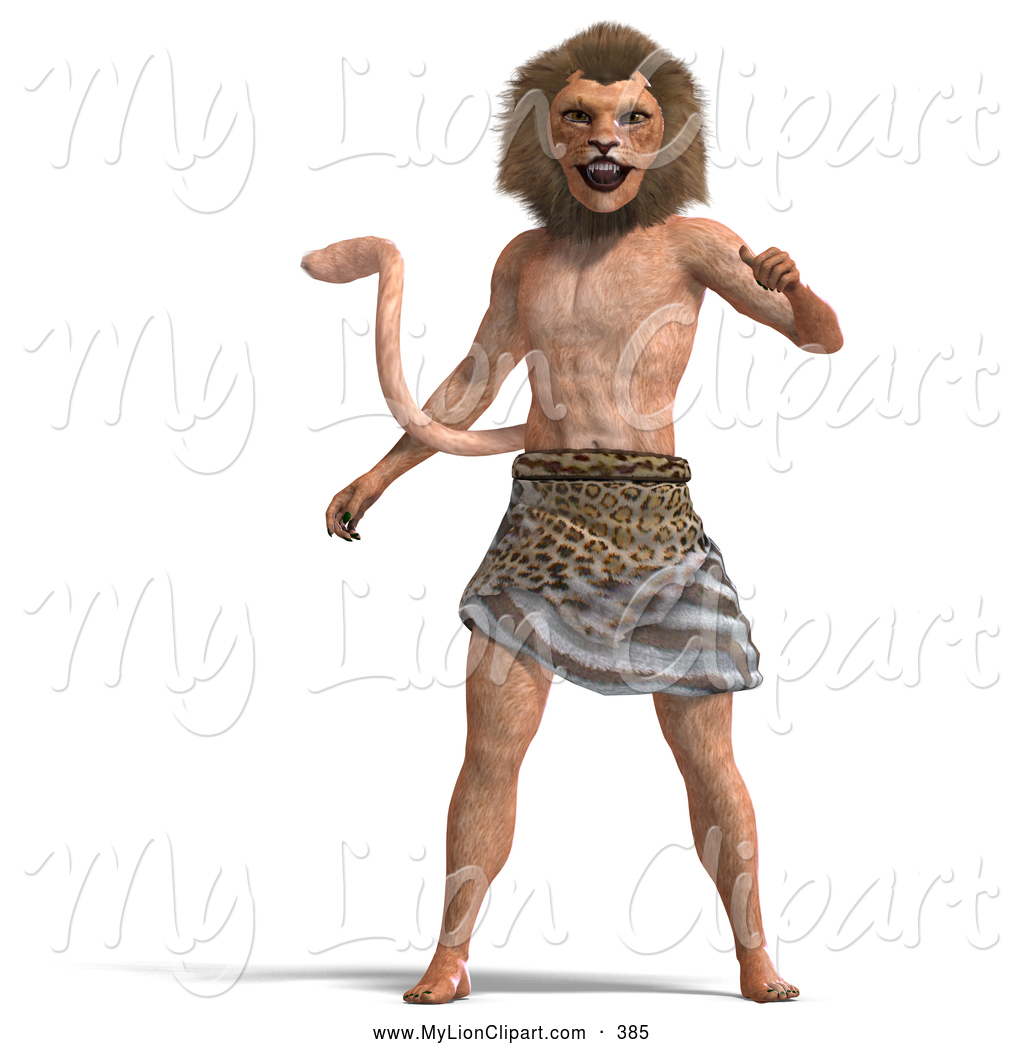 Clipart of a Strange 3d Lion Man in a Loincloth by Ralf61.