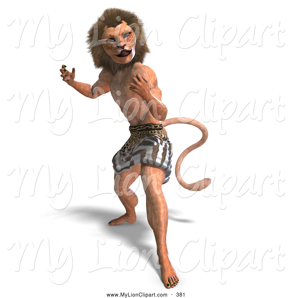 Clipart of a Creepy 3d Lion Man Standing Aggressively, with Only a.