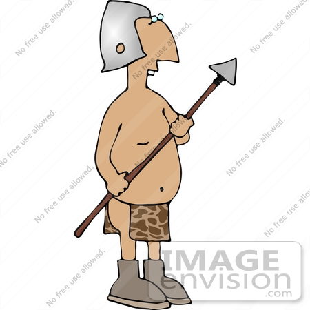 Silly Buck Toothed Man in a Helmet and Loincloth, Holding a Spear.