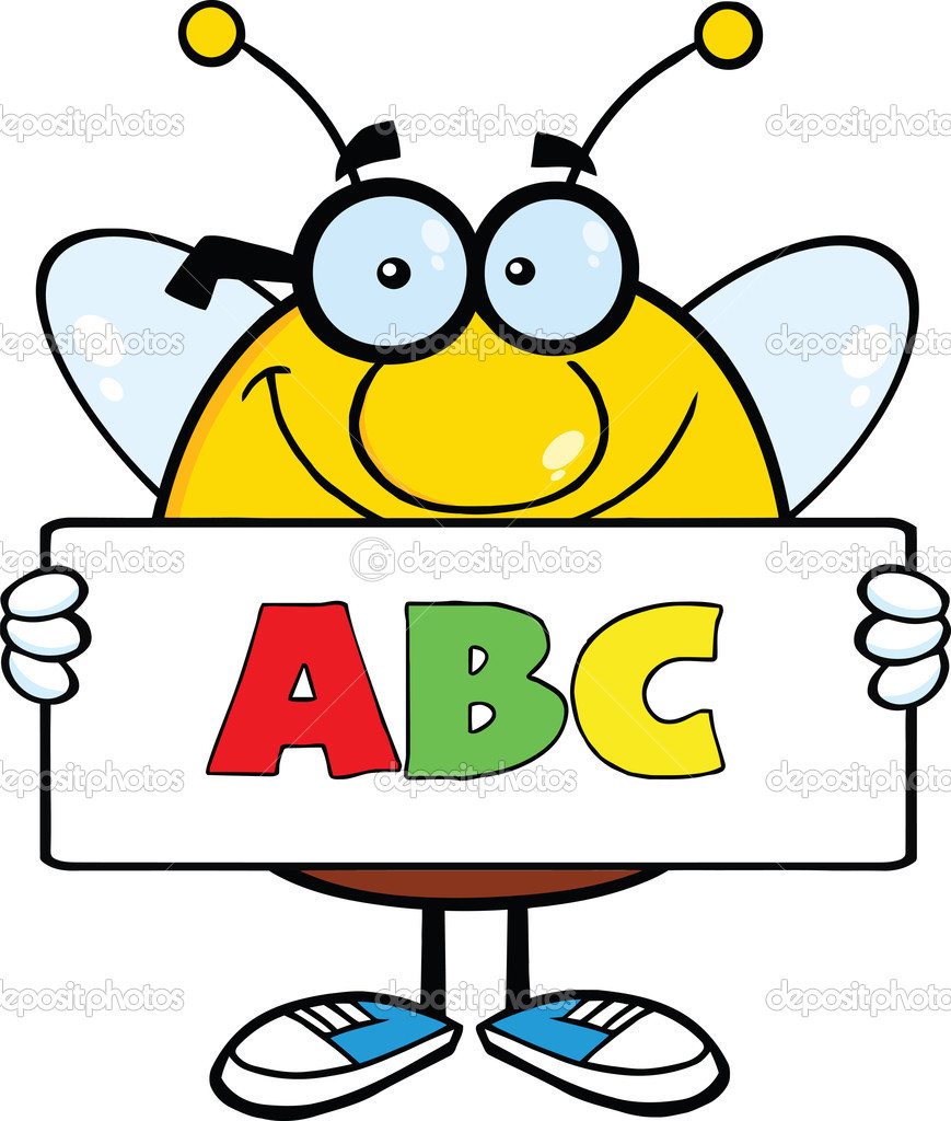 Smiling Pudgy Bee Character Holding A Banner With Text ABC — Stock.