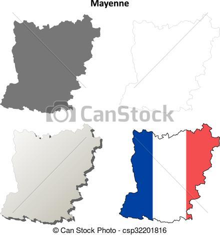 Vector Clip Art of Mayenne, Pays de la Loire outline map set.