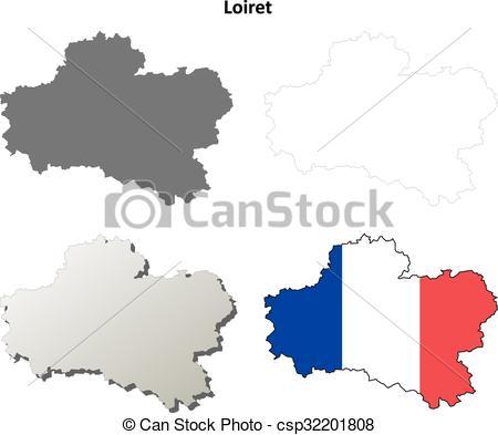 Clipart Vecteur de carte, ensemble, loiret, contour, centre.