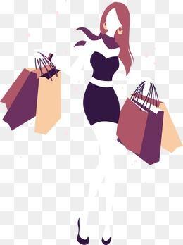 Cartoon Drawing Fashion Shopping Girl Silhouette, Cartoon.