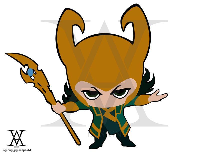 Loki avengers villain clipart vector. INSTANT DOWNLOAD.