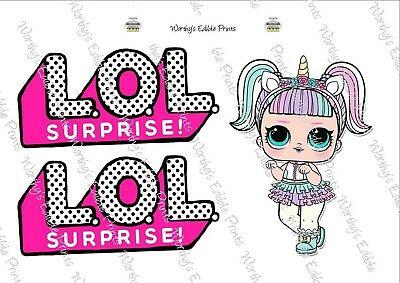 UNICORN LOL DOLL & Logo Printed Cake/Cupcake Topper Edible.