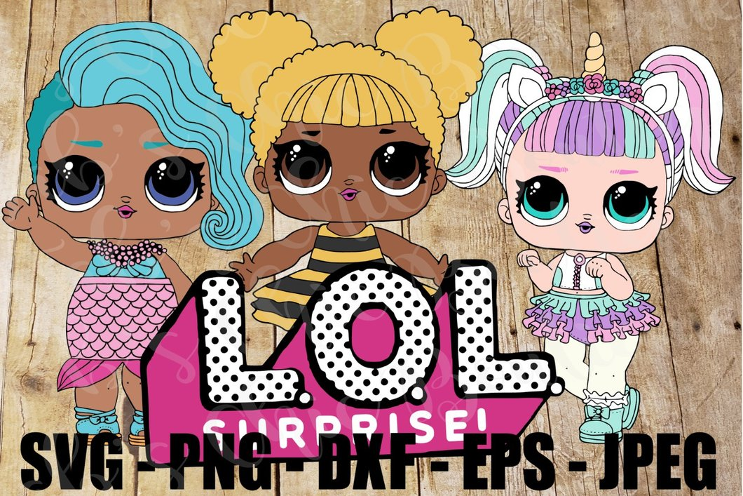 Group of LOL Dolls Logo Queen Bee Splash Queen Unicorn Surprise SVG JPEG  High Definition L.O.L. PNG DXF Topper Sublimation.