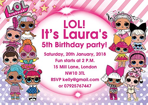 ABV Designs 10 x LOL Dolls Personalised Children Birthday Party Invitations  or Thank you cards (with Pink envelopes).