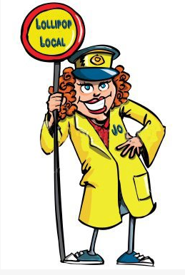 Someone personalised this Lollipop Lady cartoon for me.