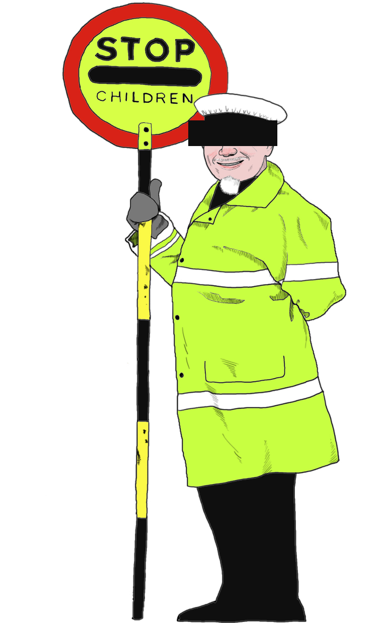 Cartoon lollipop man.