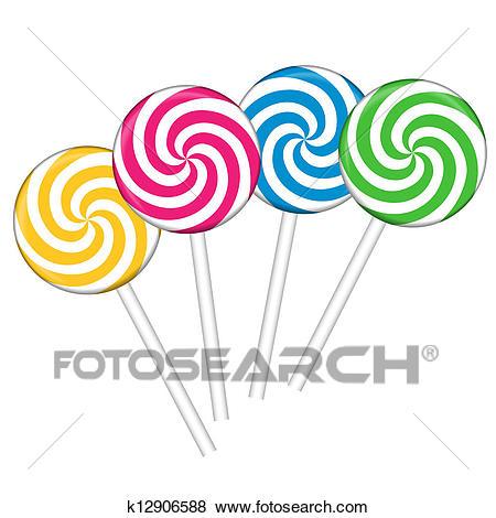 Set with colorful lollipops Clip Art.