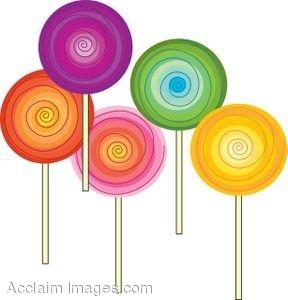 Clip Art of Swirled Lollipops.