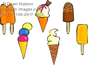 Clipart Image of A Collection of Ice Cream Cones and Ice Lollies.