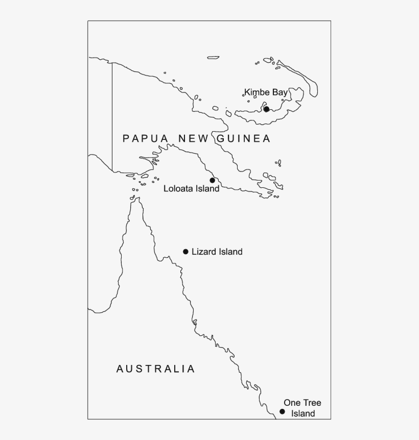 Map Of Papua New Guinea And The Great Barrier Reef.
