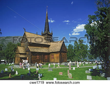 Stock Photograph of Stave church at Lom in More Romsdal region of.