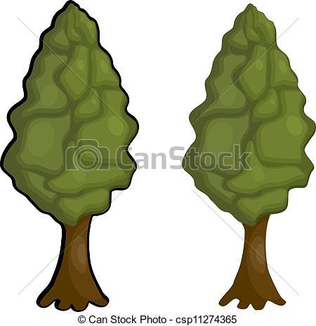 Clip Art Vector of Cartoon Lombardy poplar. eps10 csp11274365.