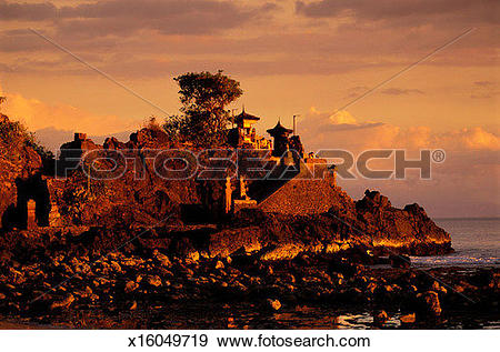 Stock Photograph of A Temple at Sunset in Lombok, Indonesia.