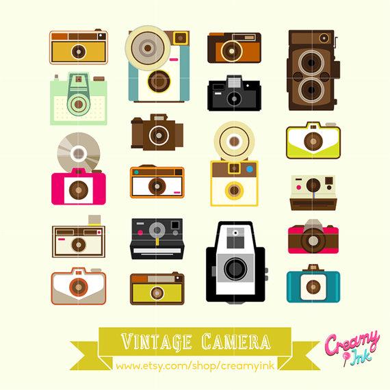 Vintage Camera Digital Vector Clip art / Lomo Toy Camera Digital.