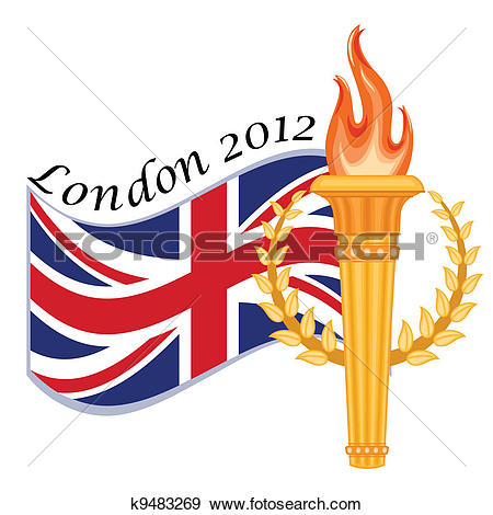 Clip Art of Gold torch and UK flag.
