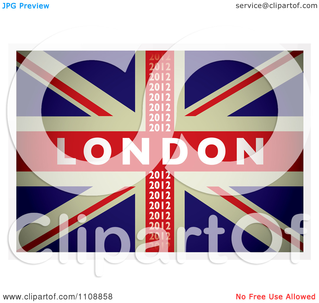 Clipart British Union Jack Flag With London 2012 Text.