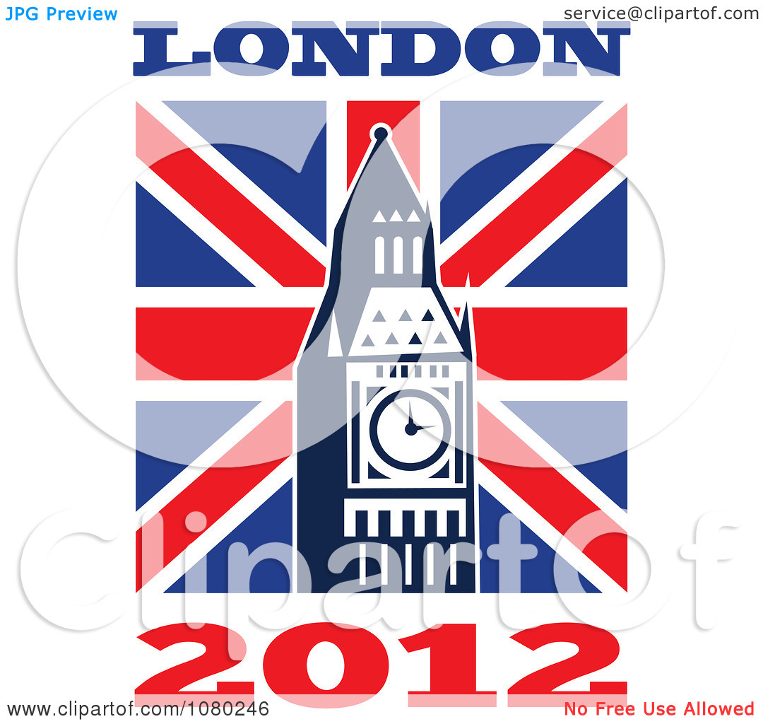 Clipart London 2012 New Year Big Ben And UK Flag.