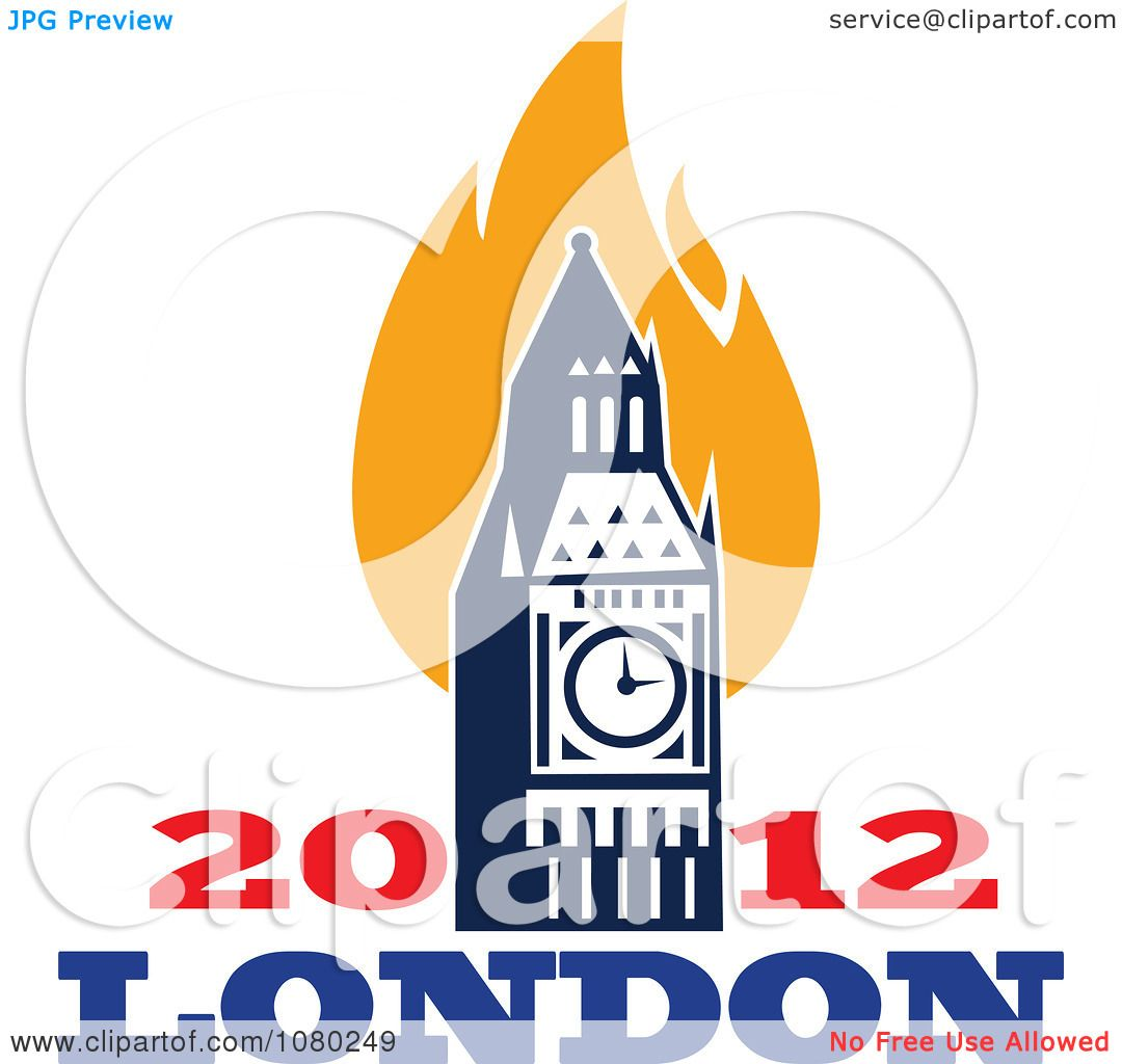 Clipart London 2012 Flames And Bit Ben Clock Tower.