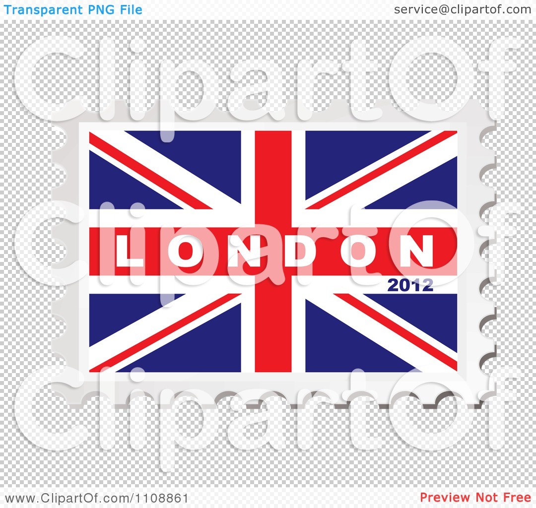 Clipart London 2012 Text On A British Union Jack Flag Stamp.
